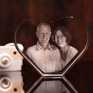 Large 3D Photo Crystal Heart