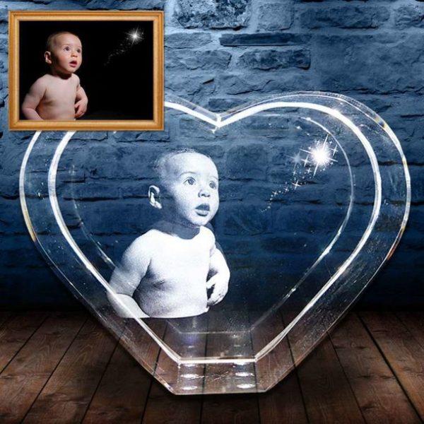 3D Photo Crystal Heart X Large
