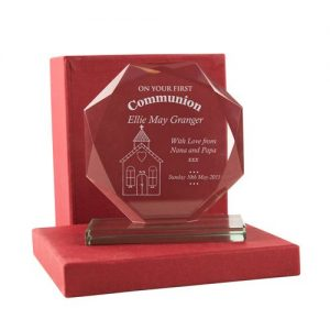 1st Holy Communion Engraved Glass Gift - Church Design