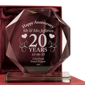 20th Wedding Anniversary Glass Gift