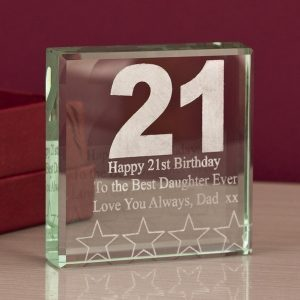21st Birthday Engraved Glass Keepsake