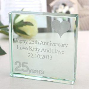 25th Anniversary Engraved Glass Keepsake
