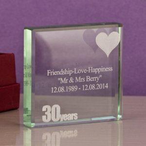 30th Anniversary Engraved Glass Keepsake