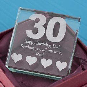 30th Birthday Engraved Glass Keepsake