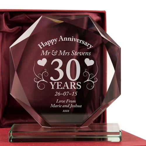 30th Wedding Anniversary Glass Gift