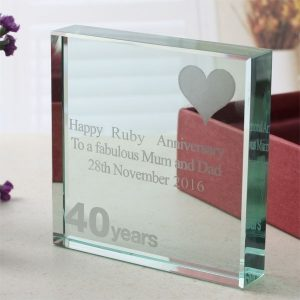 40th Anniversary Engraved Glass Keepsake