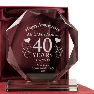 40th Wedding Anniversary Glass Gift