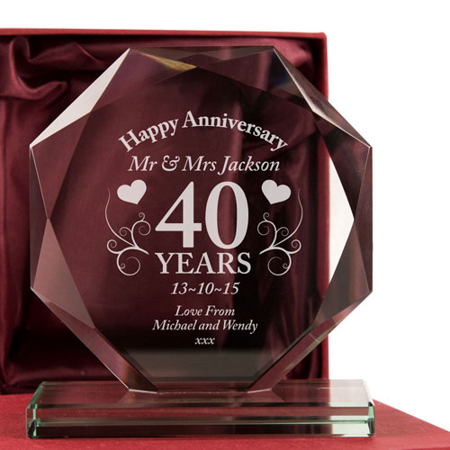 40th Wedding Anniversary Glass Gift