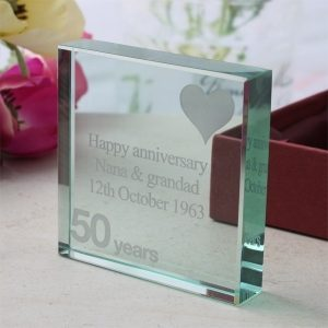 50th Anniversary Engraved Glass Keepsake