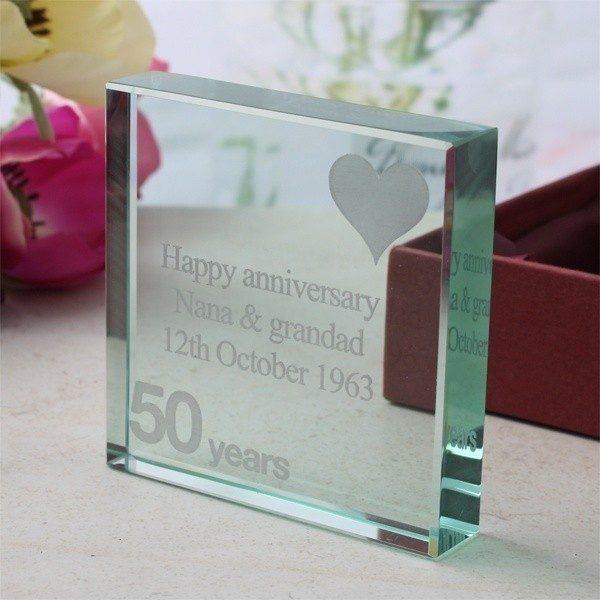 50th Anniversary Engraved Glass Keepsake