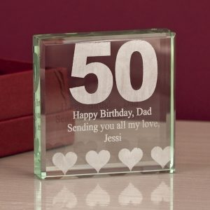 50th Birthday Engraved Glass Keepsake