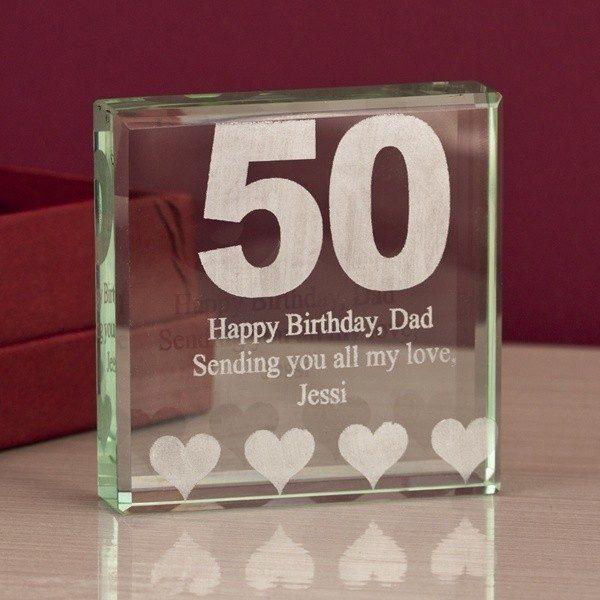 50th Birthday Engraved Glass Keepsake