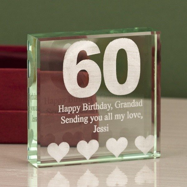 60th Birthday Engraved Glass Keepsake