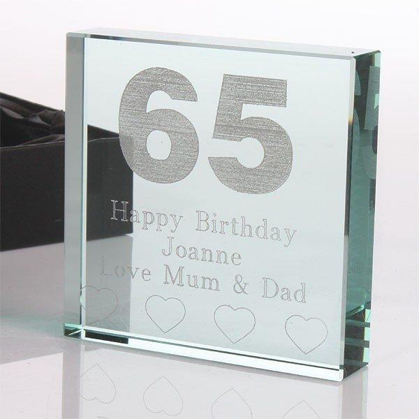 65th Birthday Engraved Glass Keepsake