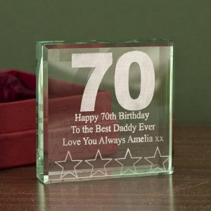 70th Birthday Engraved Glass Keepsake