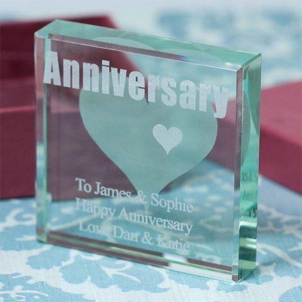 Anniversary Engraved Glass Keepsake