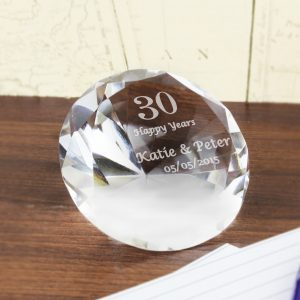 Big Numbers Personalised Diamond Paperweight