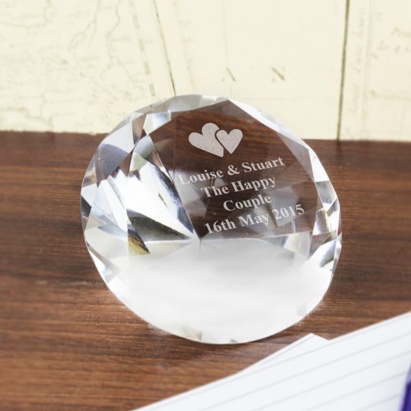 Diamond Paperweight with Heart Design