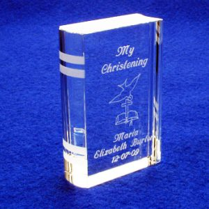 Engraved Christening Book Dove Design
