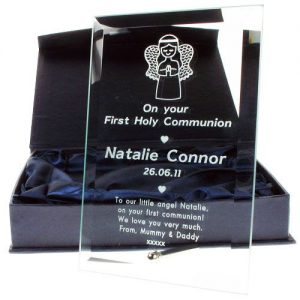 Engraved Glass Plaque Communion Frame - Angel Design