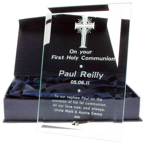 Engraved Glass Plaque Communion Frame - Cross Design