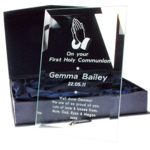 Engraved Glass Plaque Communion Frame - Praying Hands Design