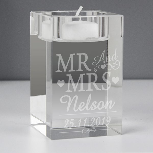 Mr & Mrs Personalised Tealight Holder