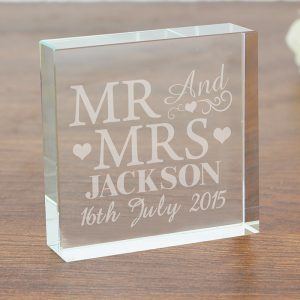 Mr Mrs Crystal Glass Block