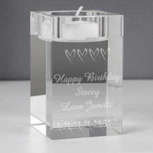 Personalised Hearts Tealight Holder