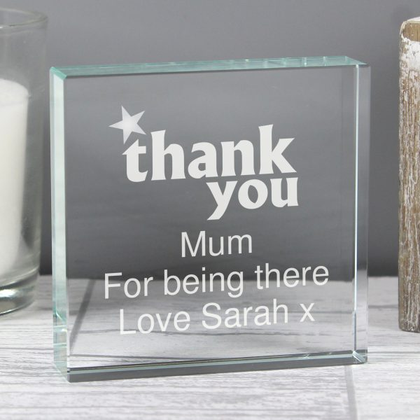 Personalised Thank You Large Crystal Block