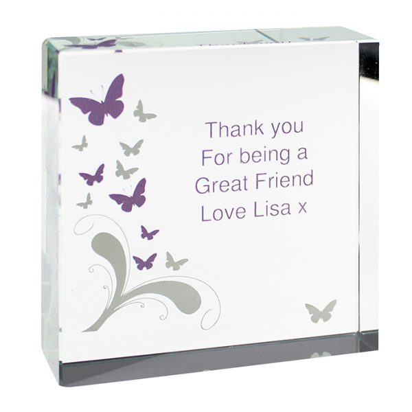 Personalised Butterflies Large Crystal Token