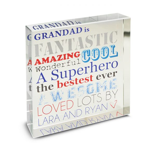 Father's Day Personalised Glass Block