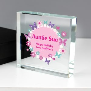 Pink Butterflies Large Crystal Block