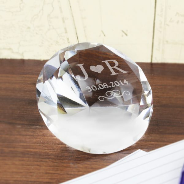 Personalised Initials Diamond Paperweight