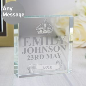 Personalised Royal Crown Crystal Block