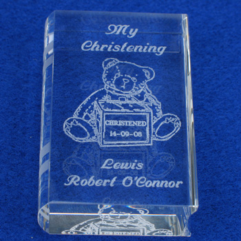 Teddy Christening Glass Book