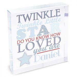 Twinkle Twinkle New Baby Boy Keepsake Crystal