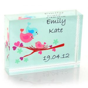 Baby Bird Personalised Glass Keepsake Gift