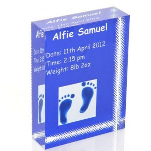 Blue Feet Personalised Glass Keepsake Gift