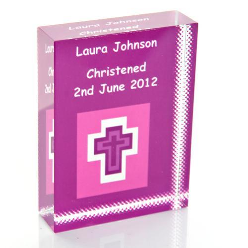 Violet Cross Personalised Glass Keepsake Gift