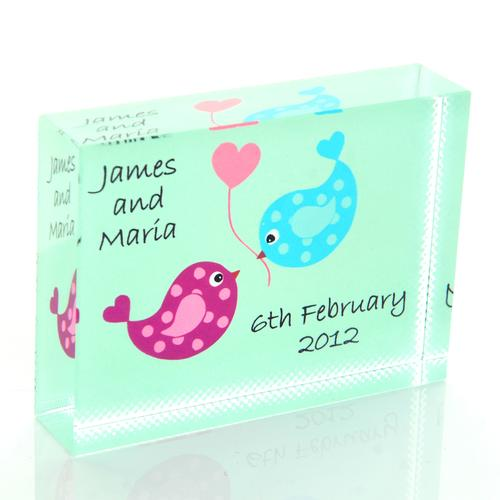 Love Birds Personalised Glass Keepsake Gift