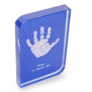 Blue Baby Hand and Footprint Wave Crystal