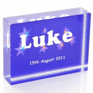 Boys Name Blue Crystal Block