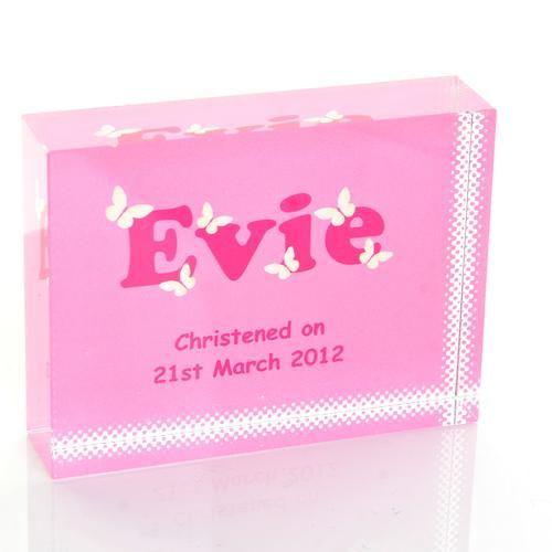 Girls Name Pink Crystal Block