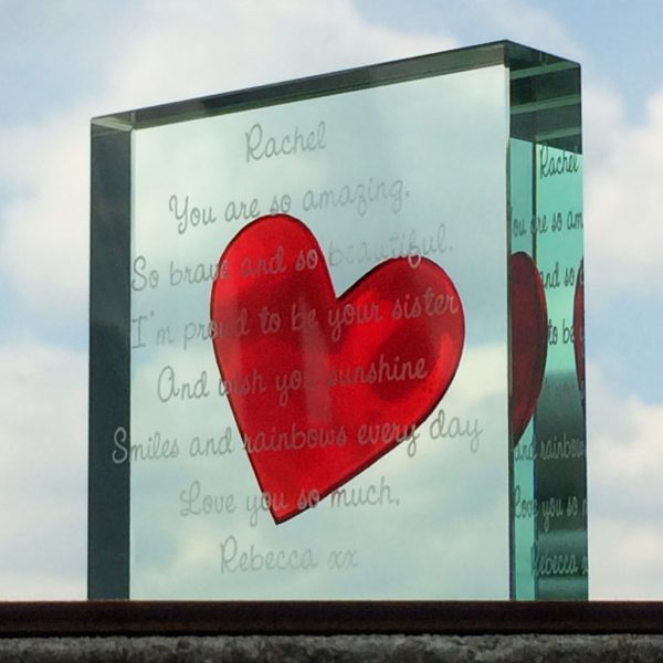 Personalised Medium Paperweight Red Heart Scripted