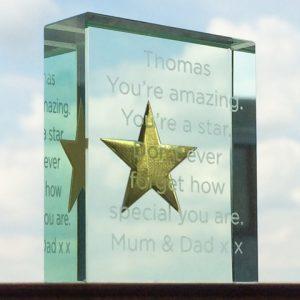 Personalise Gold Star Token Sans Serif Font