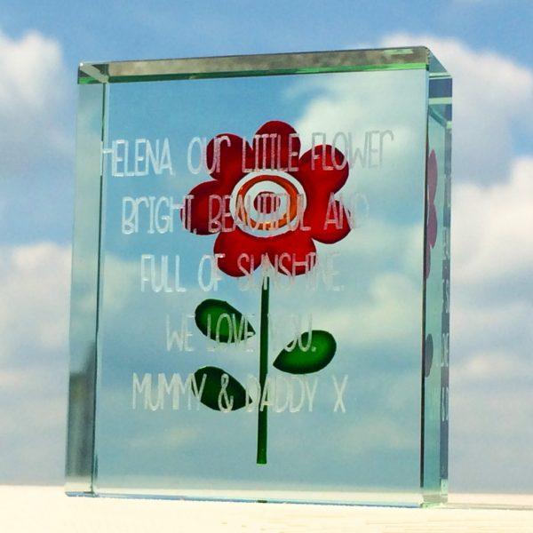 Personalised Simple Red Flower Token