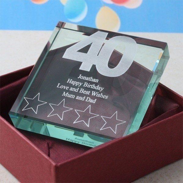 40th Birthday Square Glass Keepsake
