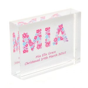 Girls Name Flowers Crystal Block