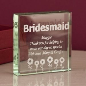 Bridesmaid Square Glass Keepsake